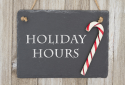 holiday hours plaque with candy cane